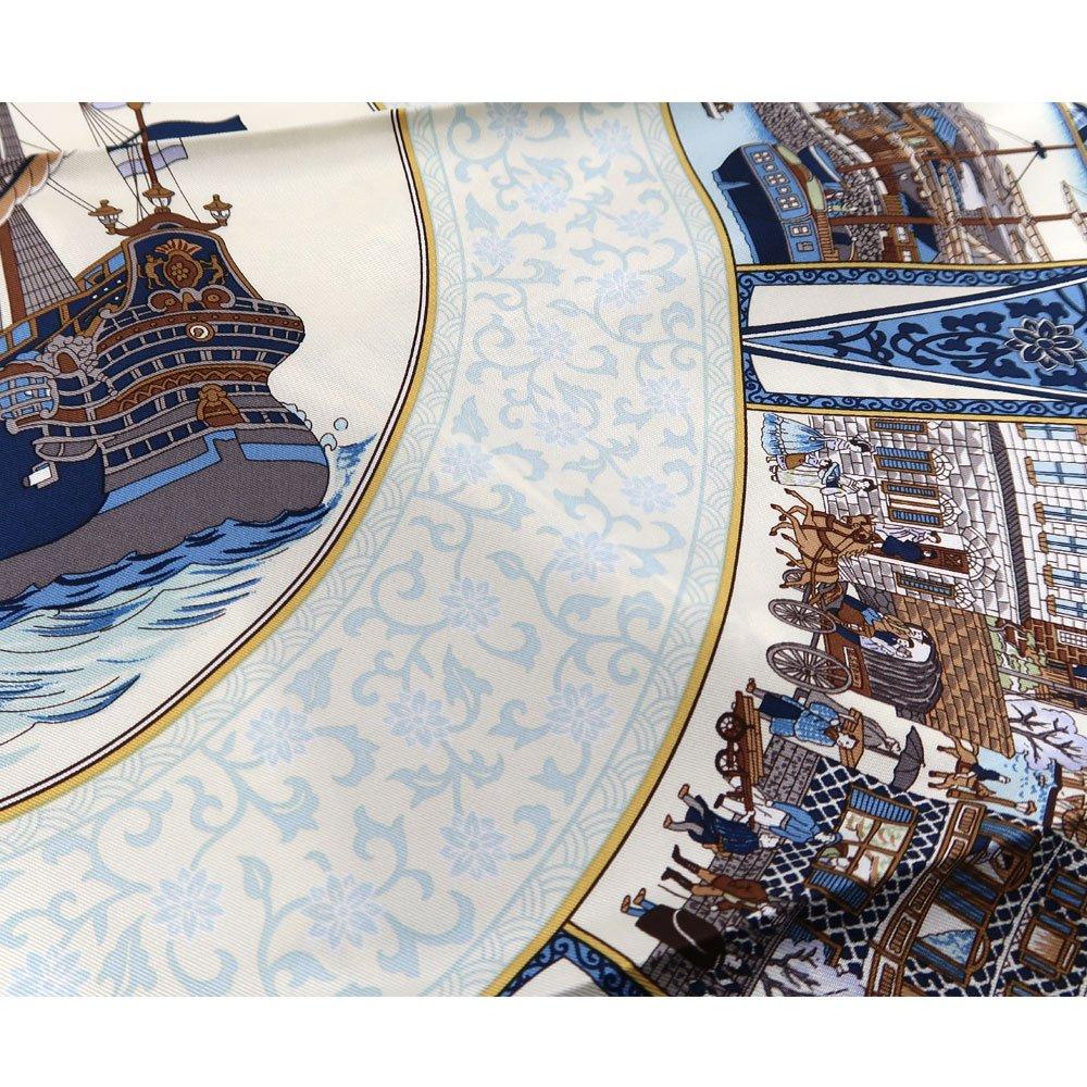 海岸通之図(CX1-910Y) 伝統横濱スカーフ 大判 シルクツイル スカーフの画像4