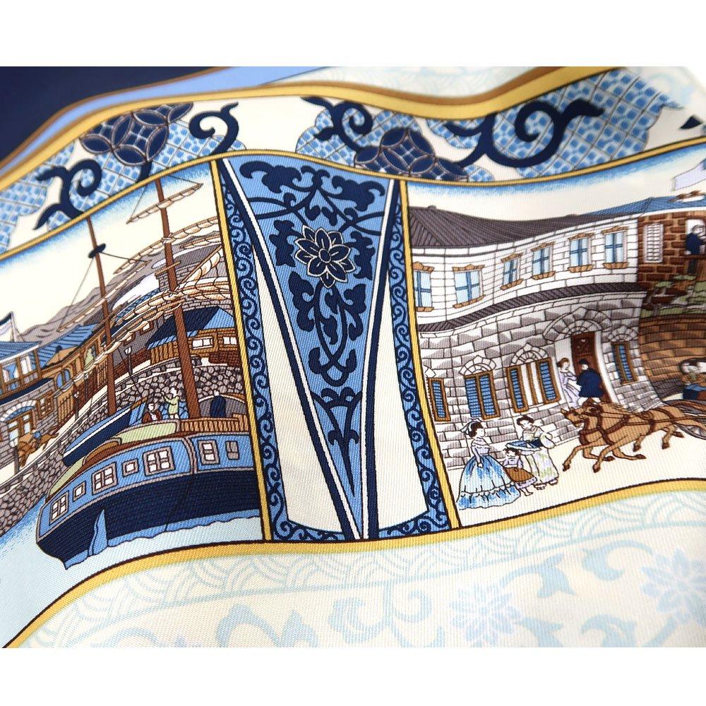 海岸通之図(CX1-910Y) 伝統横濱スカーフ 大判 シルクツイル スカーフの画像5