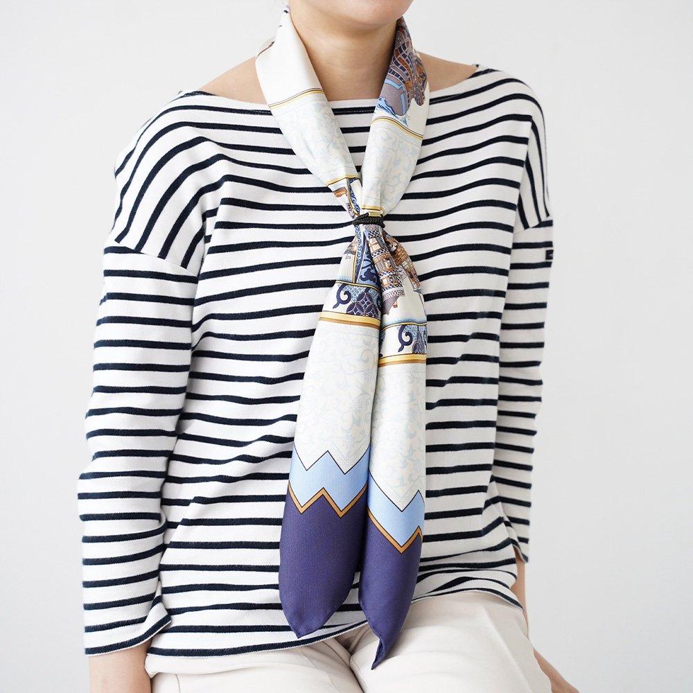 海岸通之図(CX1-910Y) 伝統横濱スカーフ 大判 シルクツイル スカーフの画像6