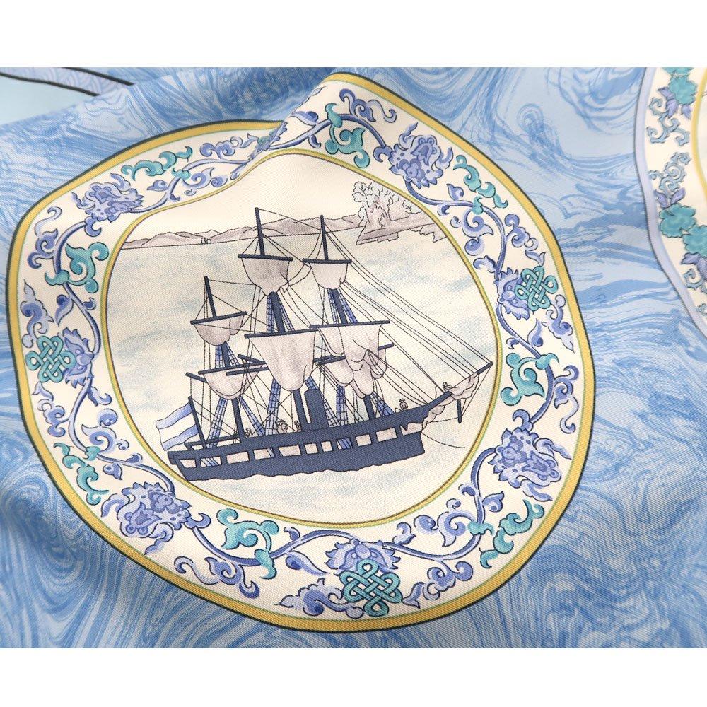 異国船之図(CX1-909Y) 伝統横濱スカーフ 大判 シルクツイル スカーフの画像3
