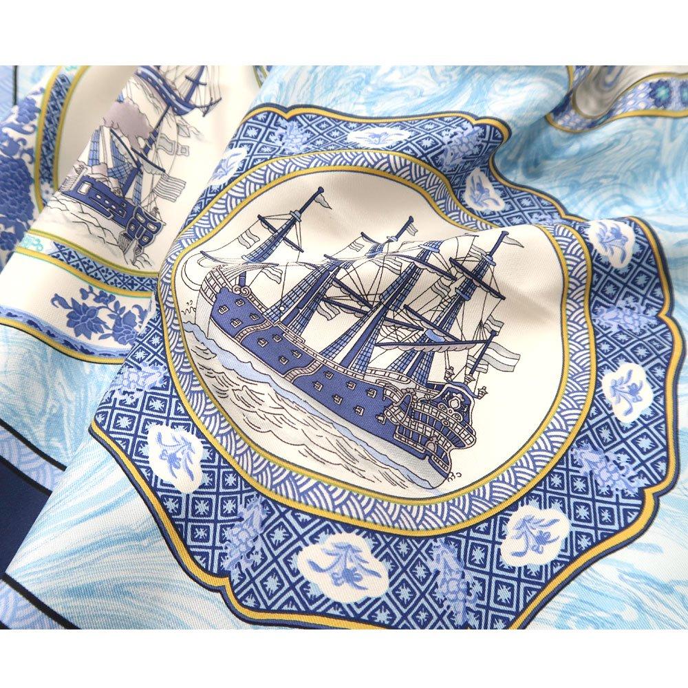 異国船之図(CX1-909Y) 伝統横濱スカーフ 大判 シルクツイル スカーフの画像7