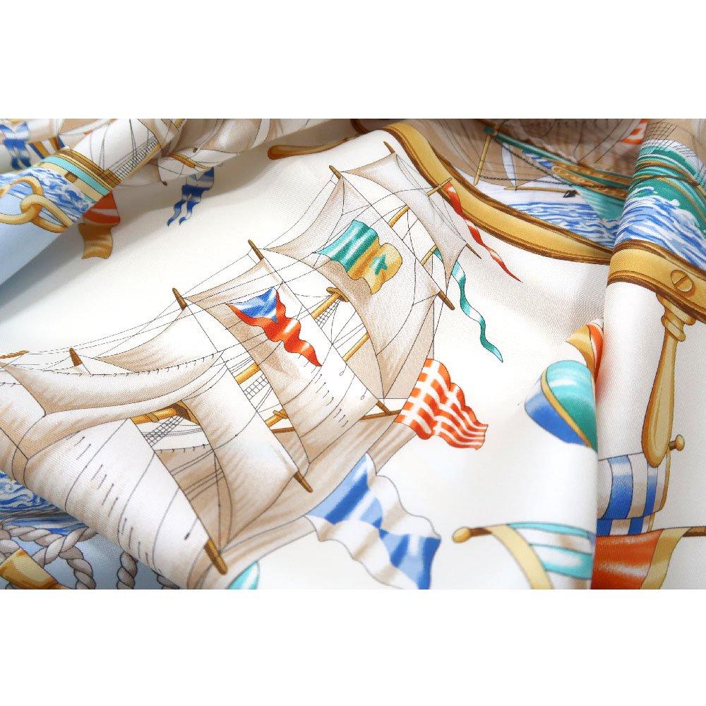 帆船(CM9-339) 伝統横濱スカーフ 大判 シルクツイル スカーフの画像5