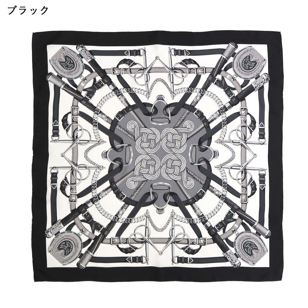 蹄鉄とステッキ(CM5-381) Marcaオリジナル 大判 シルクツイル スカーフの画像2