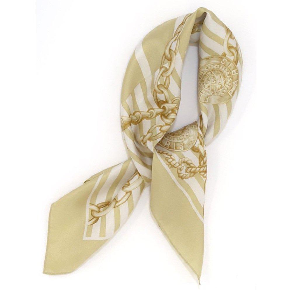 チェーン&ストライプ(BM5-023) Marcaオリジナル 小判 シルクツイル スカーフ
