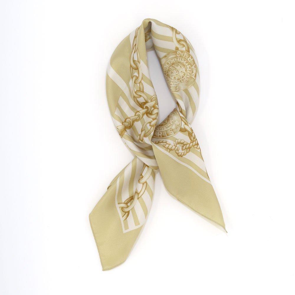 チェーン&ストライプ(BM5-023) Marcaオリジナル 小判 シルクツイル スカーフの画像1