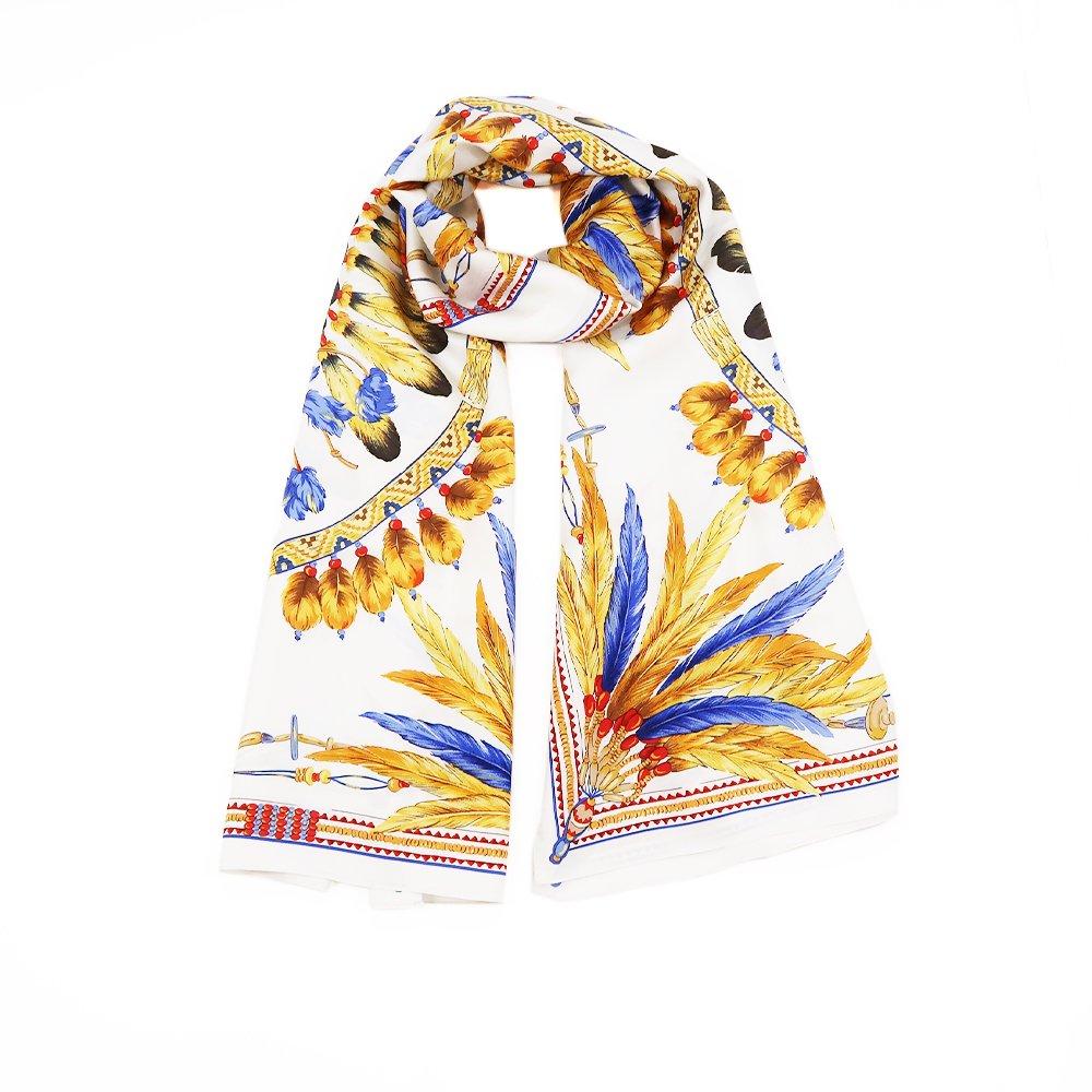 羽根飾りロング(CM5-156L) Marcaオリジナル 大判 シルクツイル ストールの画像4