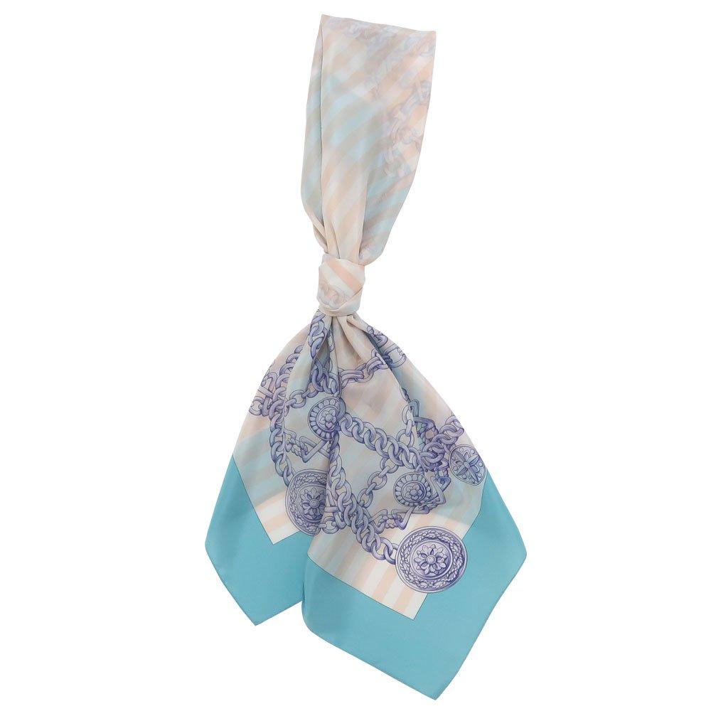 チェーンストライプ(CEK-006) Marcaオリジナル 大判 シルクデシン スカーフの画像1