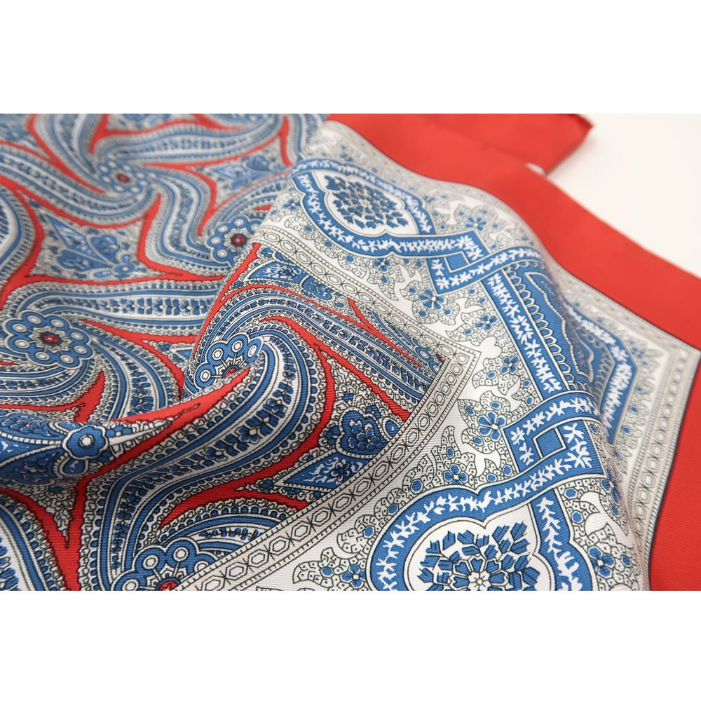 手裏剣ペイズリー(CM5-416) Marcaオリジナル 大判 シルクツイル スカーフの画像6