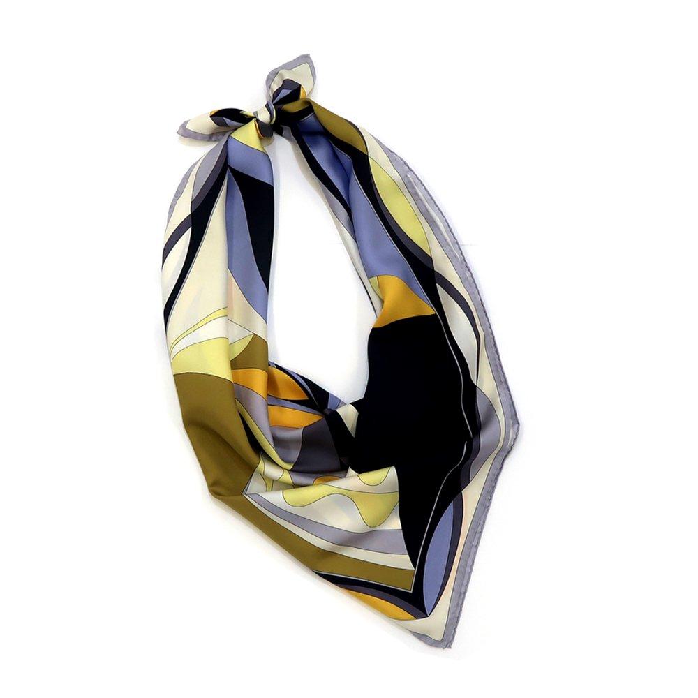 ジオメトリックフラワー(CGD-023) Marcaオリジナル 大判 シルクツイル スカーフの画像2
