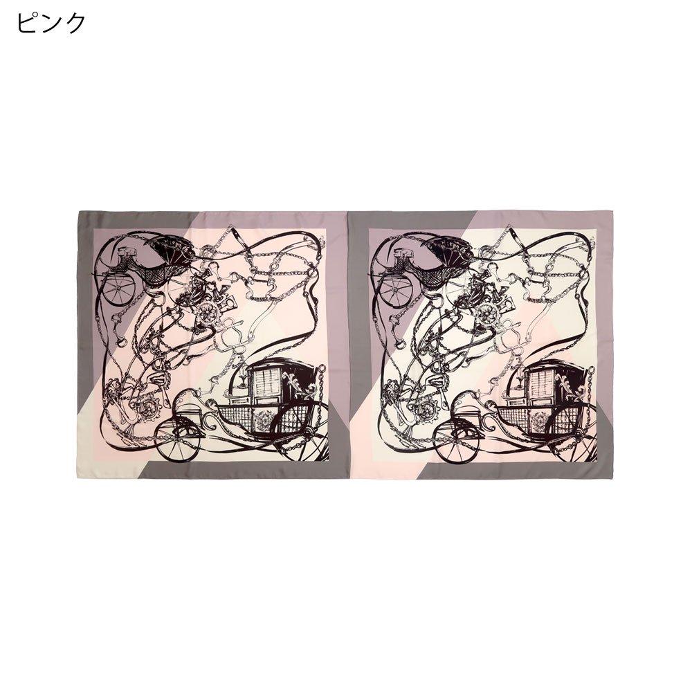色面割幾何×手描き風馬車ロング(CGQ-098/CEQ-097L) Marcaオリジナル 大判 シルクツイル ストールの画像2