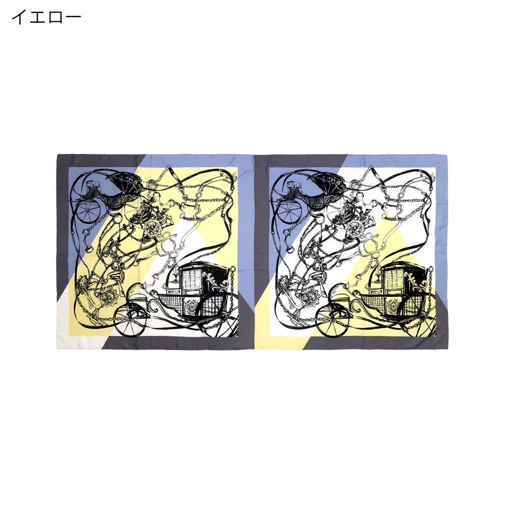 色面割幾何×手描き風馬車ロング(CGQ-098/CEQ-097L) Marcaオリジナル 大判 シルクツイル ストールの画像4