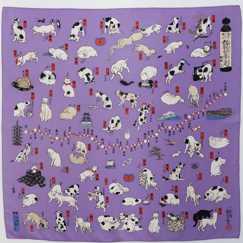 其のまま地口・猫飼好五十三疋(BMS-089) Marcaオリジナル 小判 シルクツイル スカーフ