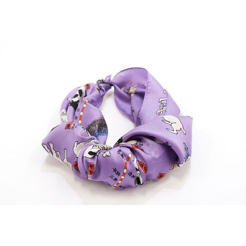 其のまま地口・猫飼好五十三疋(BMS-089) Marcaオリジナル 小判 シルクツイル スカーフの画像2