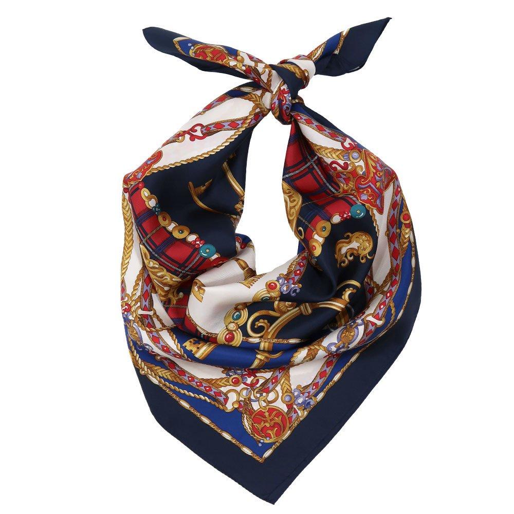 飾りカギとチェック (CM5-441) Marcaオリジナル 大判 シルクツイル スカーフの画像1