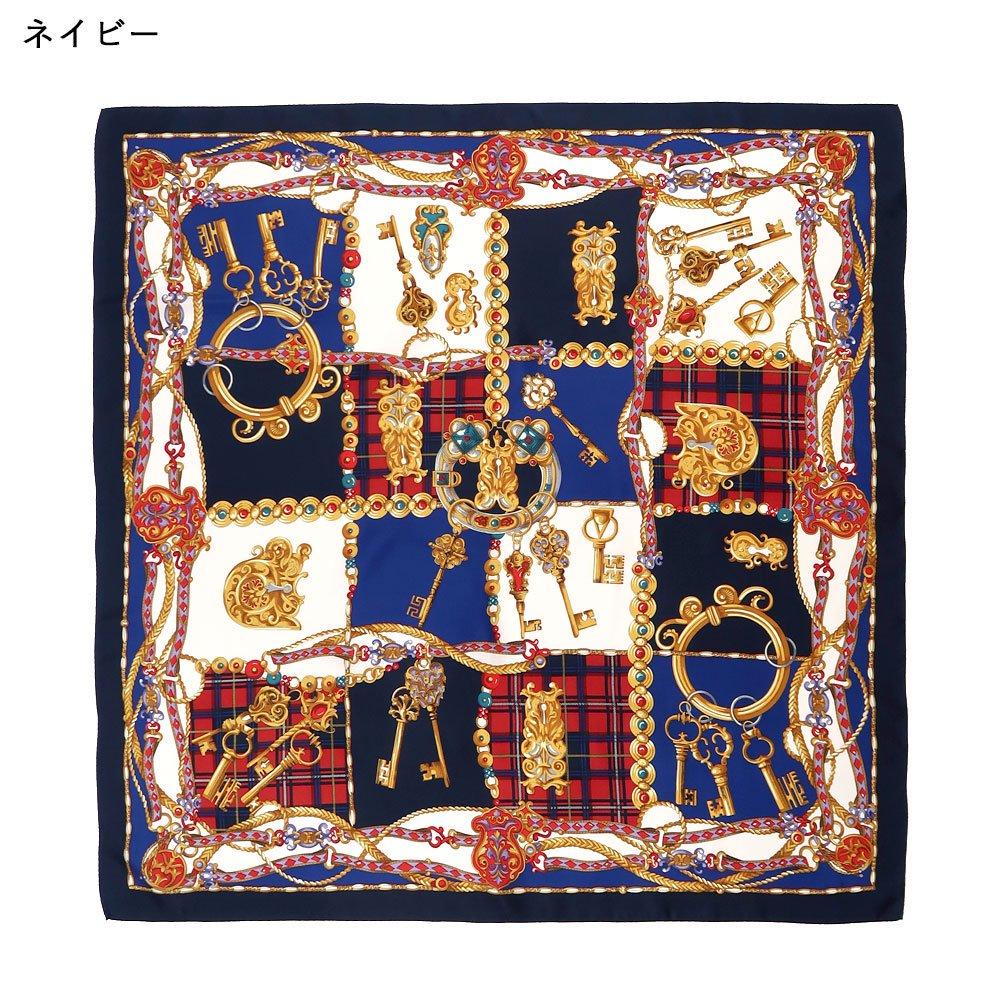 飾りカギとチェック (CM5-441) Marcaオリジナル 大判 シルクツイル スカーフの画像2
