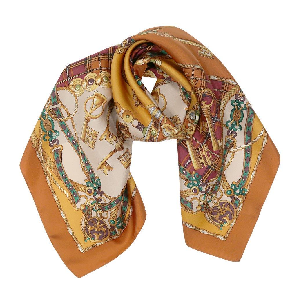 飾りカギとチェック (CM5-441) Marcaオリジナル 大判 シルクツイル スカーフの画像4