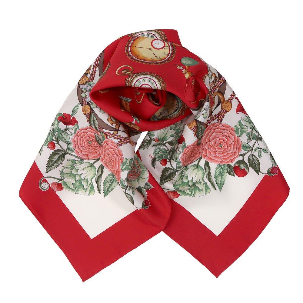 ポケットウォッチとバラ (CM5-328) 伝統横濱スカーフ 大判 シルクツイル スカーフ