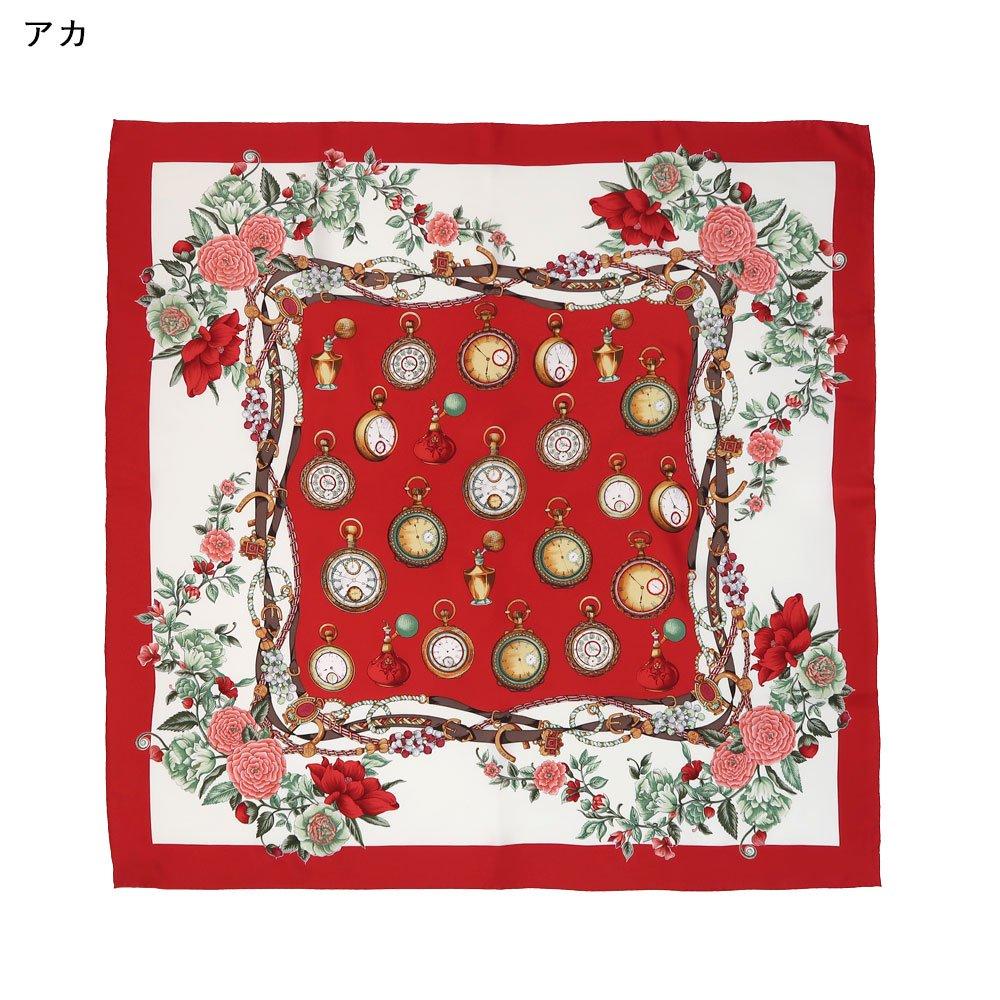 ポケットウォッチとバラ (CM5-328) 伝統横濱スカーフ 大判 シルクツイル スカーフの画像1