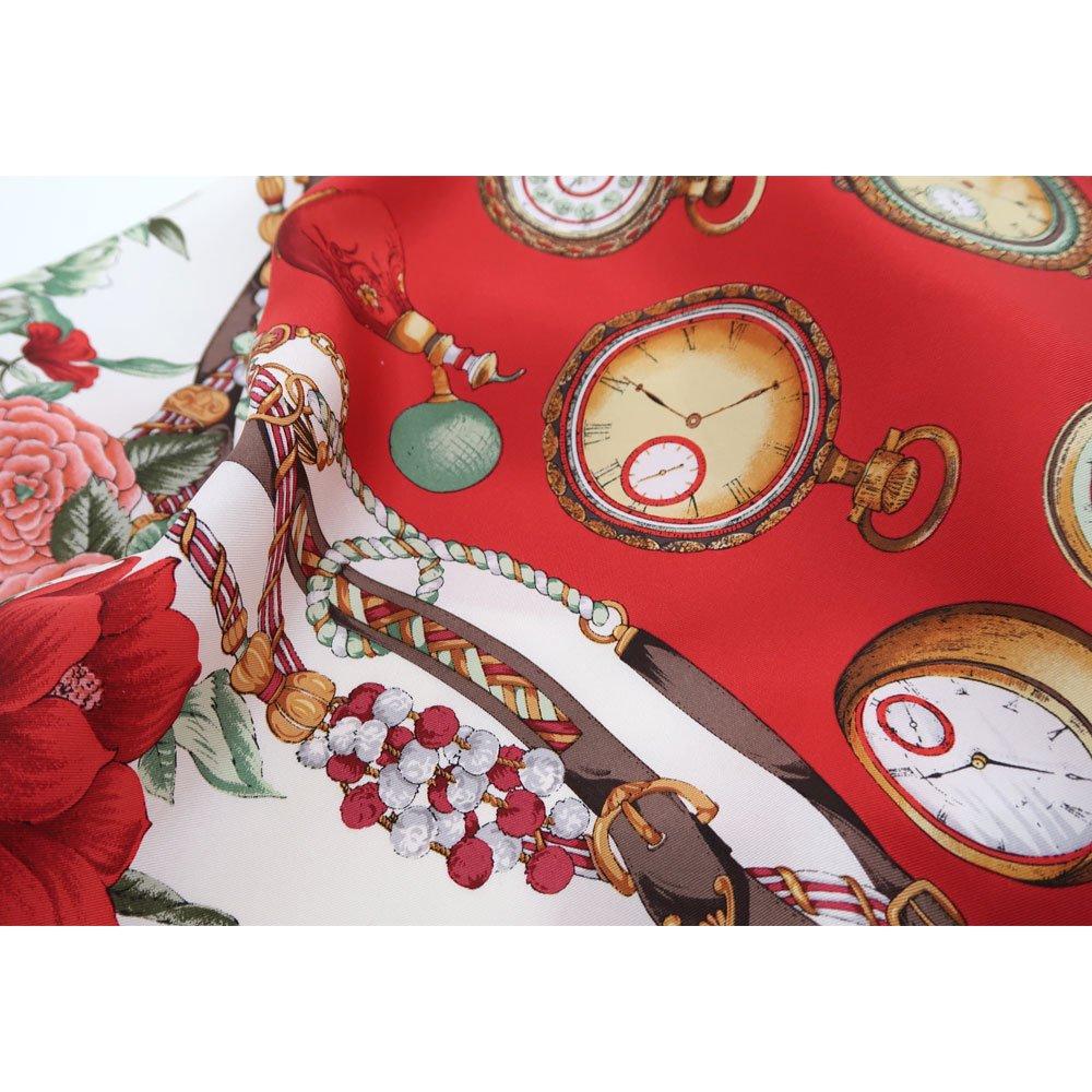 ポケットウォッチとバラ (CM5-328) 伝統横濱スカーフ 大判 シルクツイル スカーフの画像4