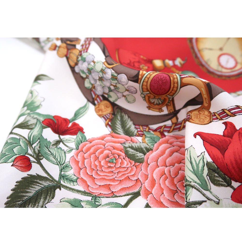 ポケットウォッチとバラ (CM5-328) 伝統横濱スカーフ 大判 シルクツイル スカーフの画像5