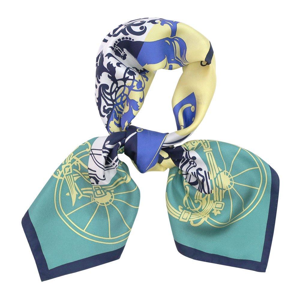 色面シルエット馬車 (FET-059) Marcaオリジナル 小判 シルクツイル スカーフ