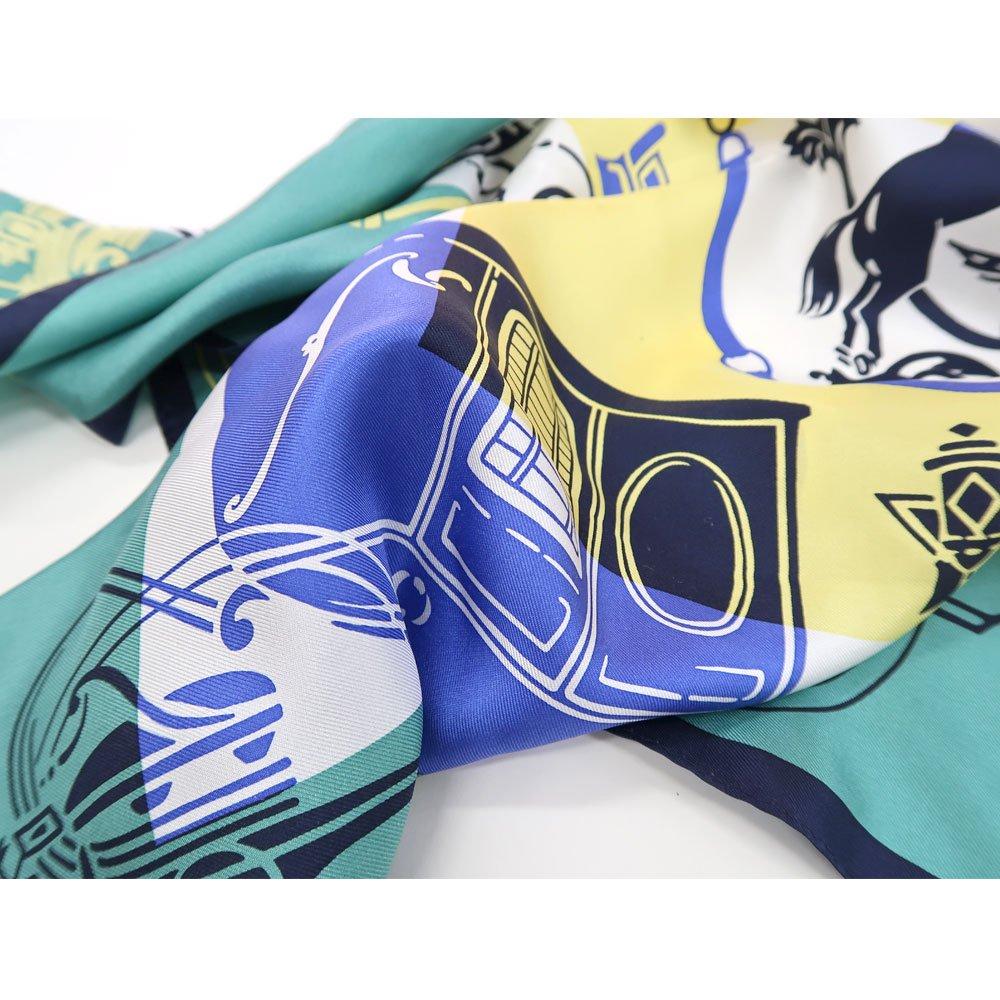 色面シルエット馬車 (FET-059) Marcaオリジナル 小判 シルクツイル スカーフの画像3