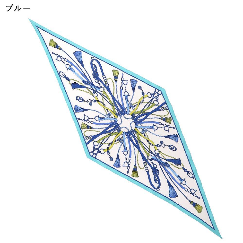 タッセル&チャーム 菱形スカーフ (FET-061) Marcaオリジナル シルクツイル スカーフの画像2