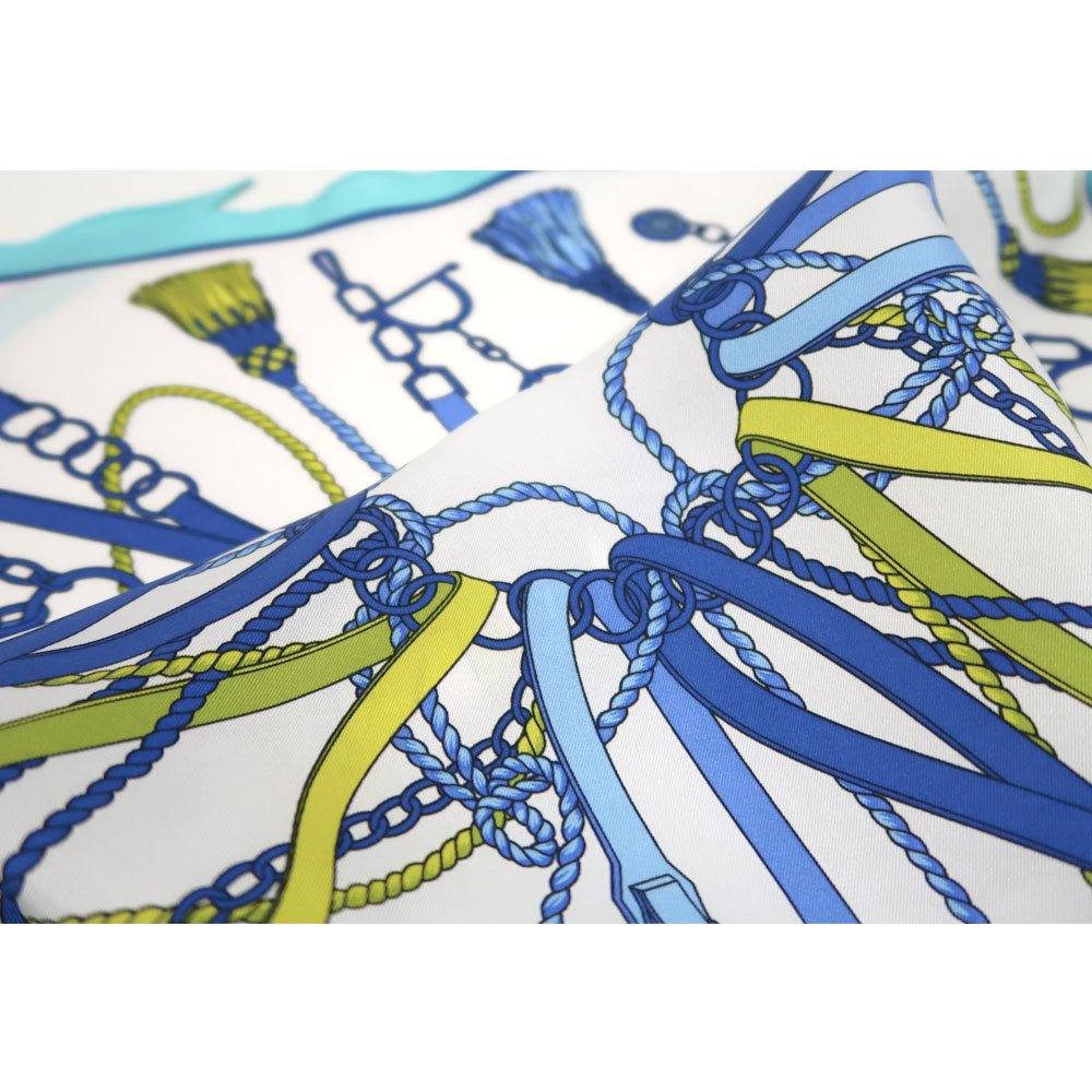 タッセル&チャーム 菱形スカーフ (FET-061) Marcaオリジナル シルクツイル スカーフの画像7