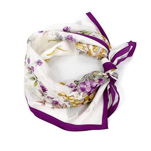 木の実[ぶどう] (CM6-734) 伝統横濱スカーフ 大判 シルクデシン スカーフ
