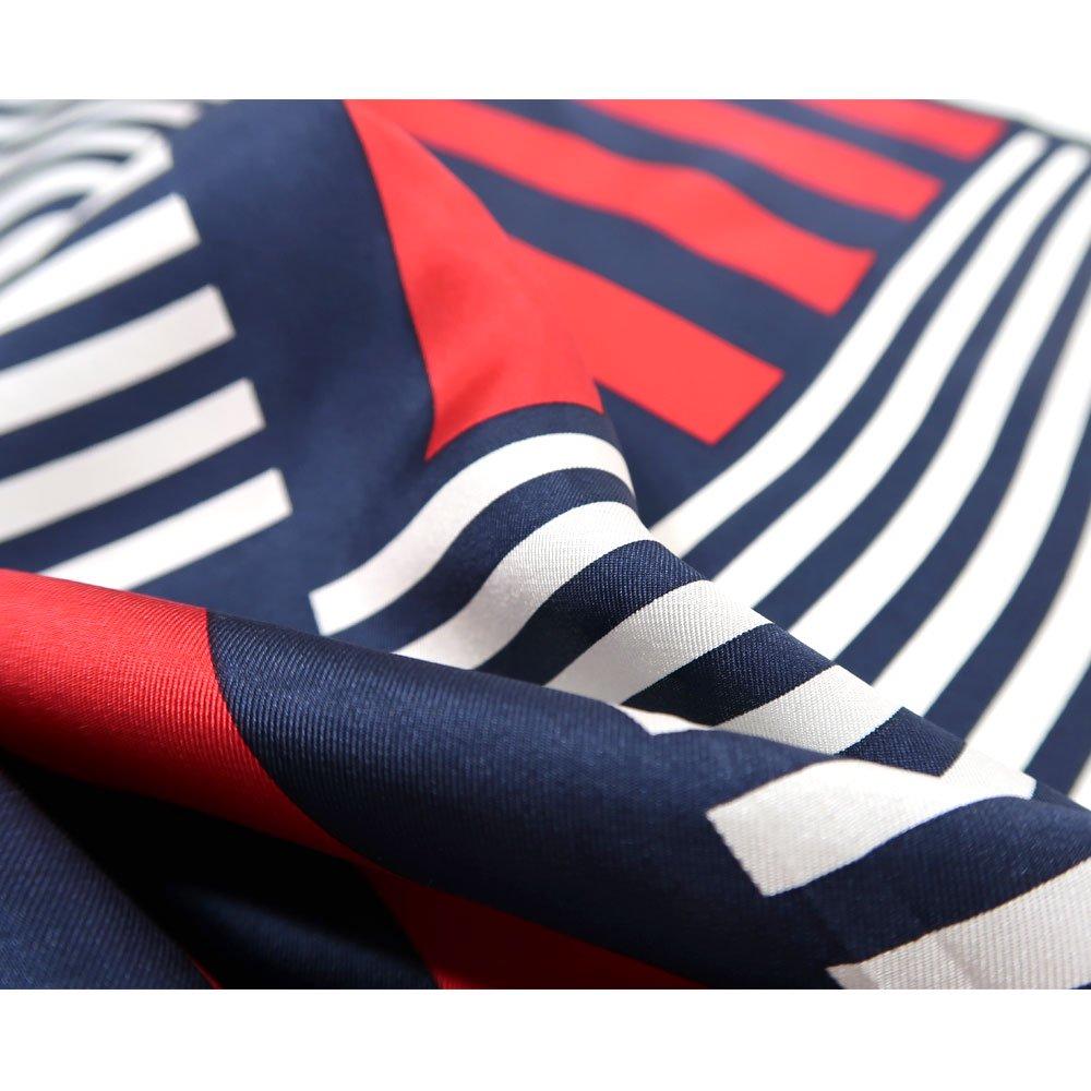 ボーダー&ストライプ (FGT-084) Marcaオリジナル 小判 シルクツイル スカーフの画像2