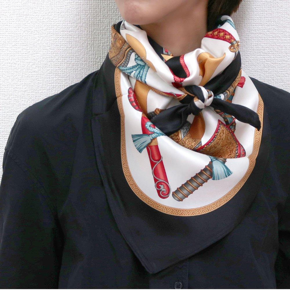 兜 弓と矢 太刀(CET-106) 伝統横濱スカーフ 大判 シルクスカーフの画像7