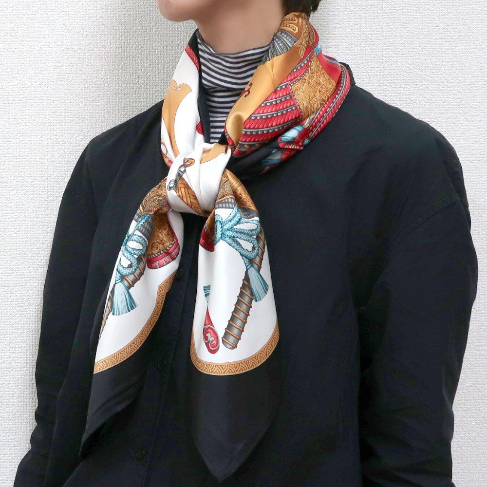 兜 弓と矢 太刀(CET-106) 伝統横濱スカーフ 大判 シルクスカーフの画像8