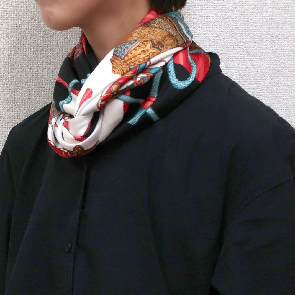 兜 弓と矢 太刀(CET-106) 伝統横濱スカーフ 大判 シルクスカーフの画像9