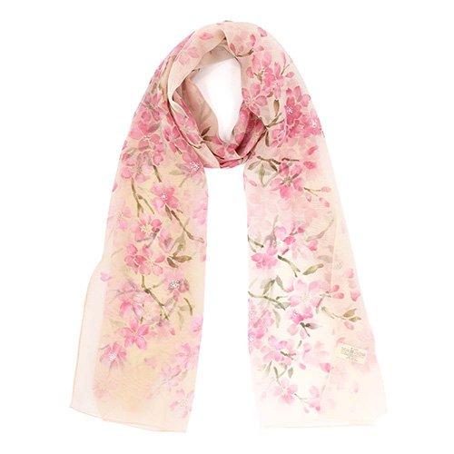 桜 (LMH-088) 伝統横濱スカーフ  シルクローン ロングスカーフ