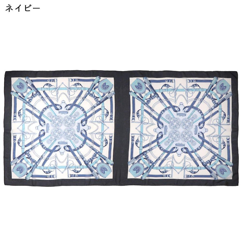 蹄鉄とステッキ(CM5-381LL) Marcaオリジナル 大判 シルクローン ストールの画像4