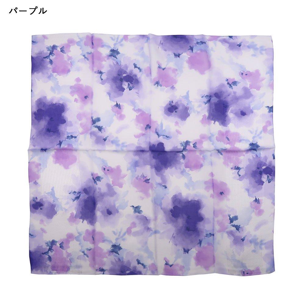 格子ヘムぼかし花(NFQ-012) Marcaオリジナル 大判 シルクローン スカーフの画像12
