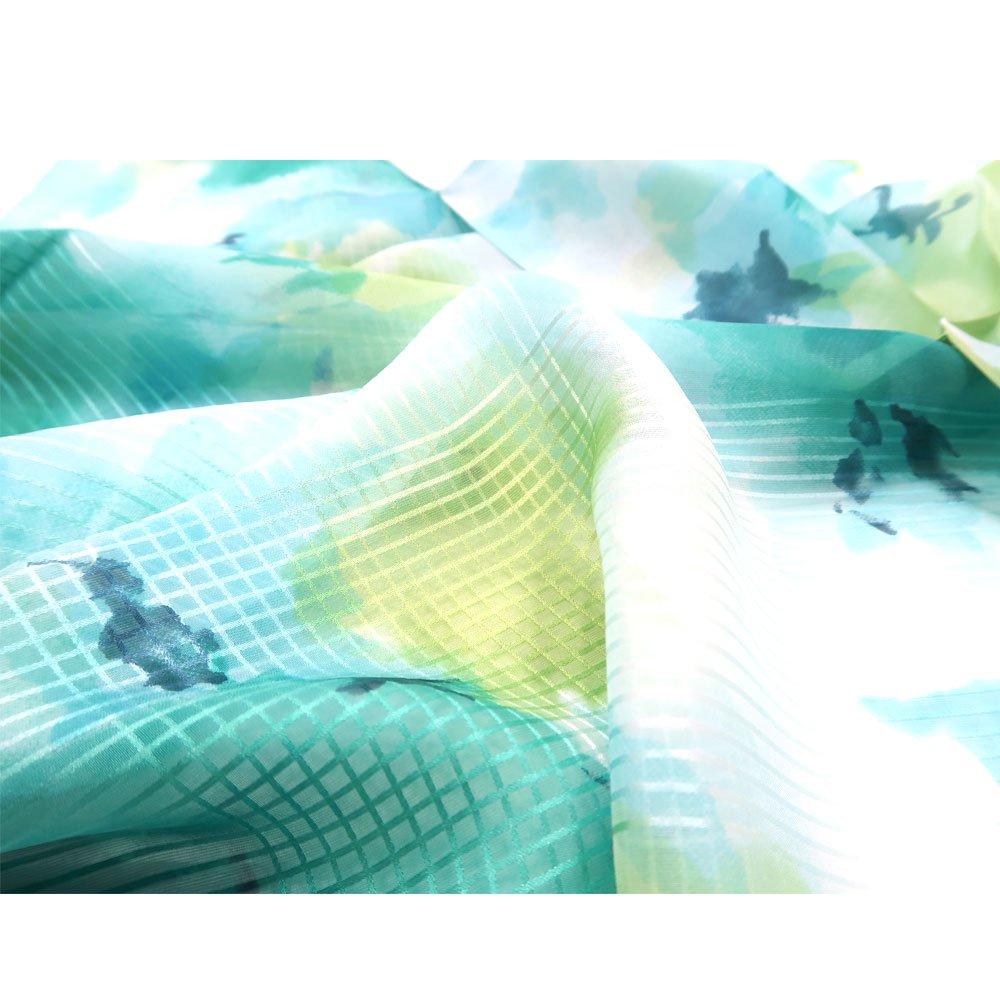 格子ヘムぼかし花(NFQ-012) Marcaオリジナル 大判 シルクローン スカーフの画像3