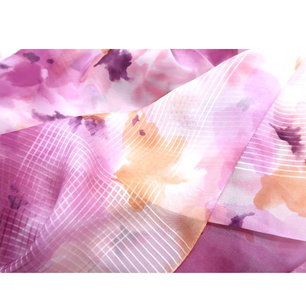 格子ヘムぼかし花(NFQ-012) Marcaオリジナル 大判 シルクローン スカーフの画像7