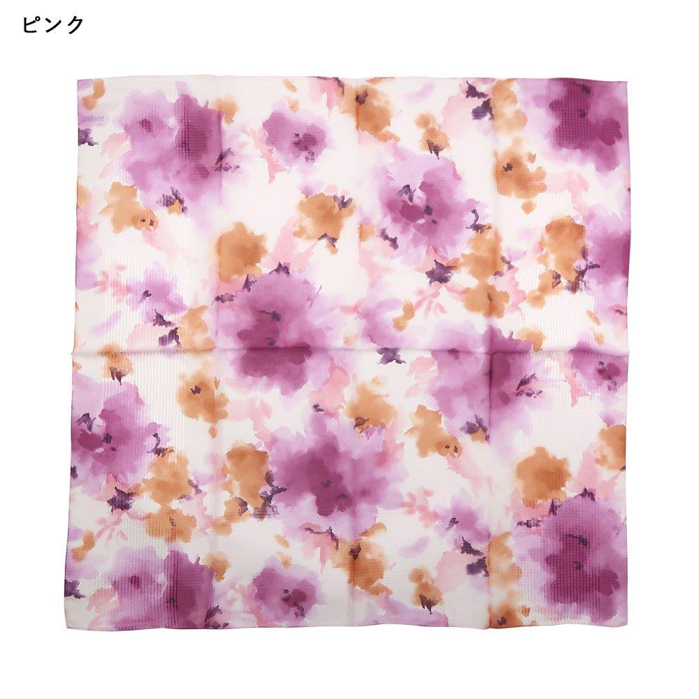 格子ヘムぼかし花(NFQ-012) Marcaオリジナル 大判 シルクローン スカーフの画像8