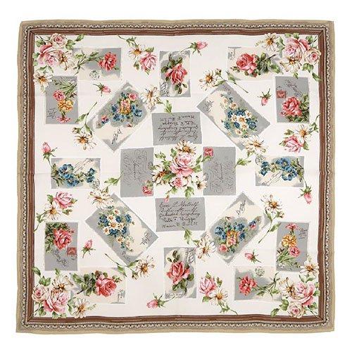 薔薇カード (CM7-026) Marcaオリジナル 大判 シルクツイル スカーフ