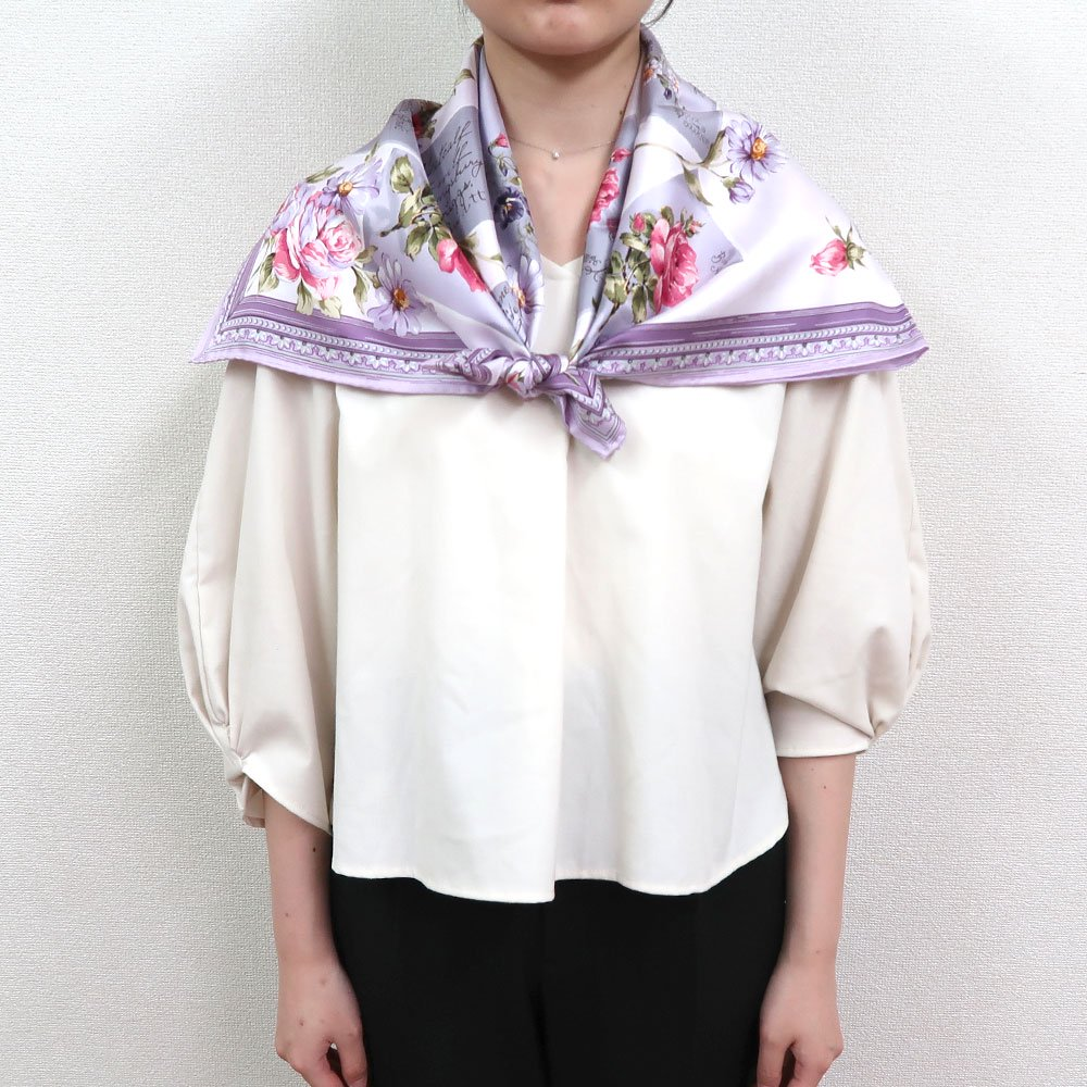 薔薇カード (CM7-026) Marcaオリジナル 大判 シルクツイル スカーフの画像13