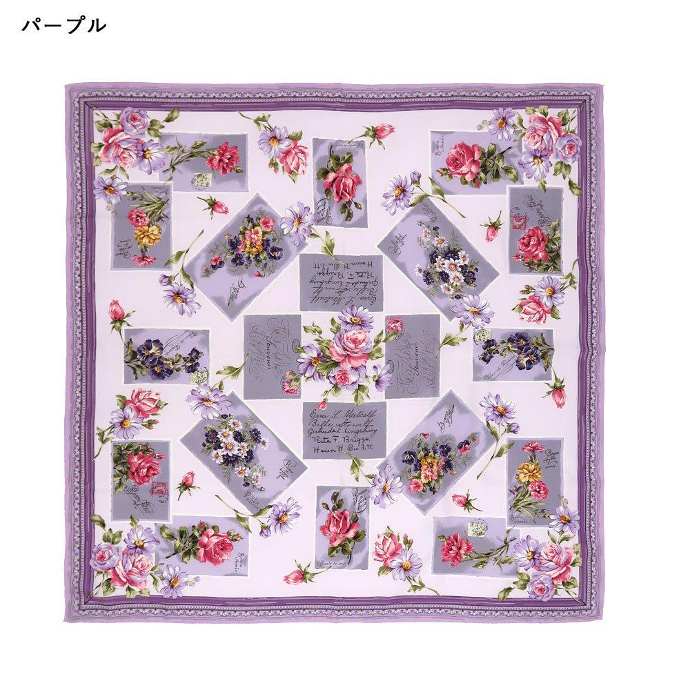 薔薇カード (CM7-026) Marcaオリジナル 大判 シルクツイル スカーフの画像15