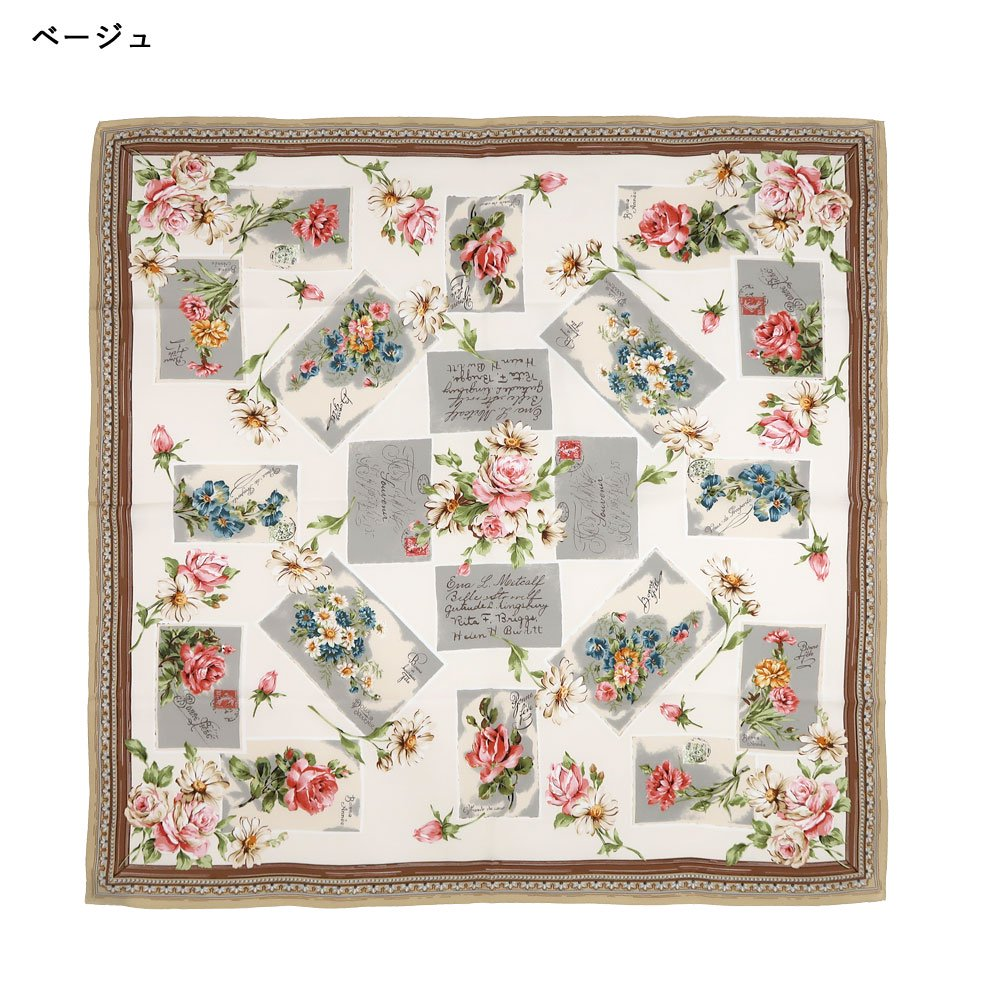 薔薇カード (CM7-026) Marcaオリジナル 大判 シルクツイル スカーフの画像6