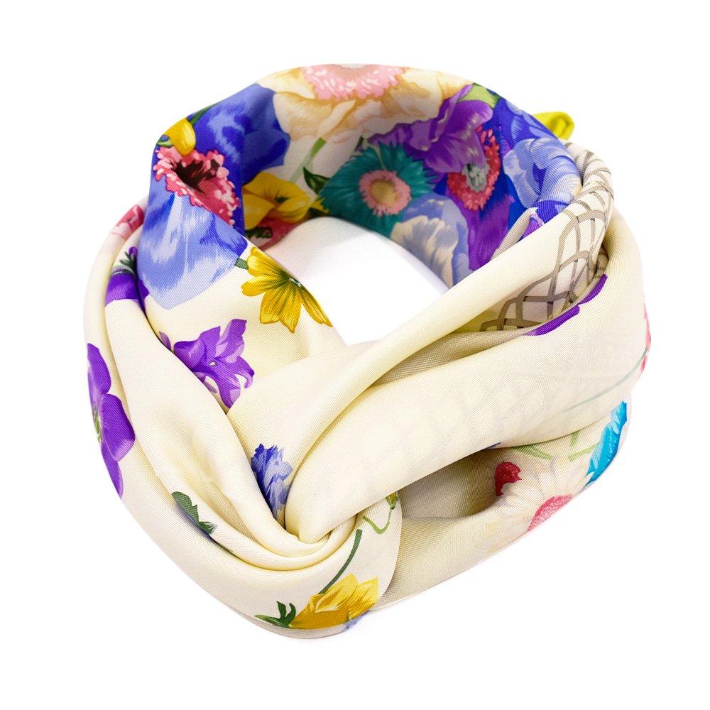 田園の花(CM6-818) 伝統横濱スカーフ 大判 シルクツイル スカーフの画像1
