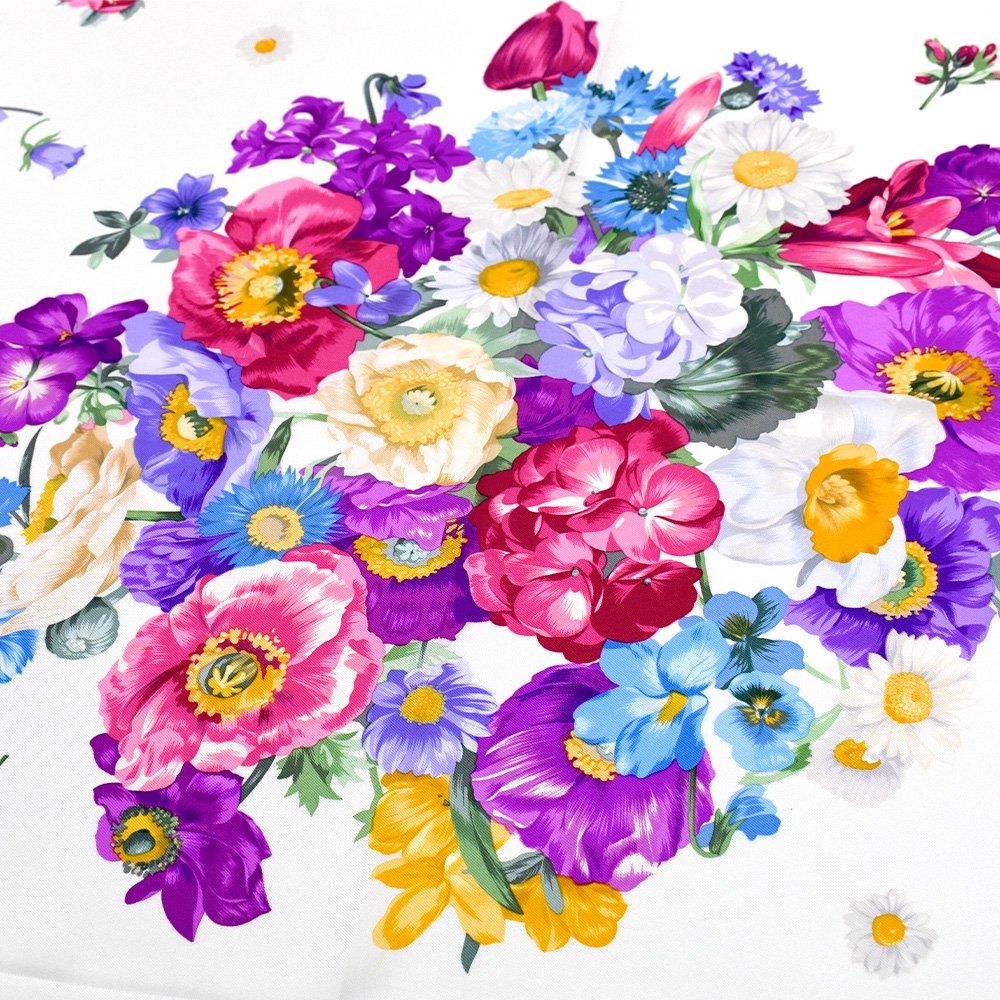 田園の花(CM6-818) 伝統横濱スカーフ 大判 シルクツイル スカーフの画像11