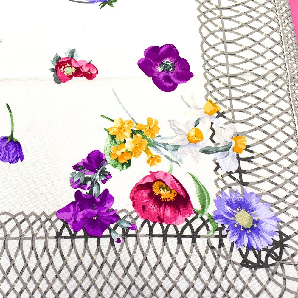 田園の花(CM6-818) 伝統横濱スカーフ 大判 シルクツイル スカーフの画像12