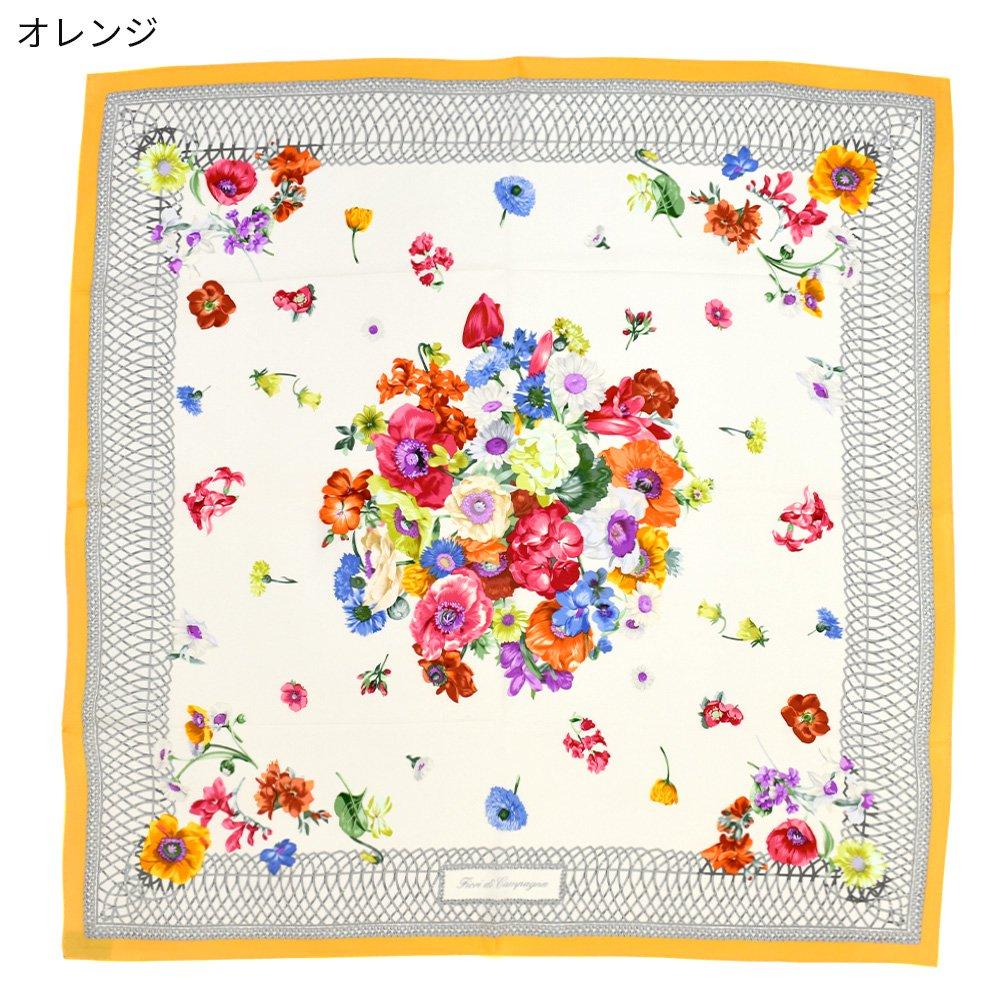 田園の花(CM6-818) 伝統横濱スカーフ 大判 シルクツイル スカーフの画像15