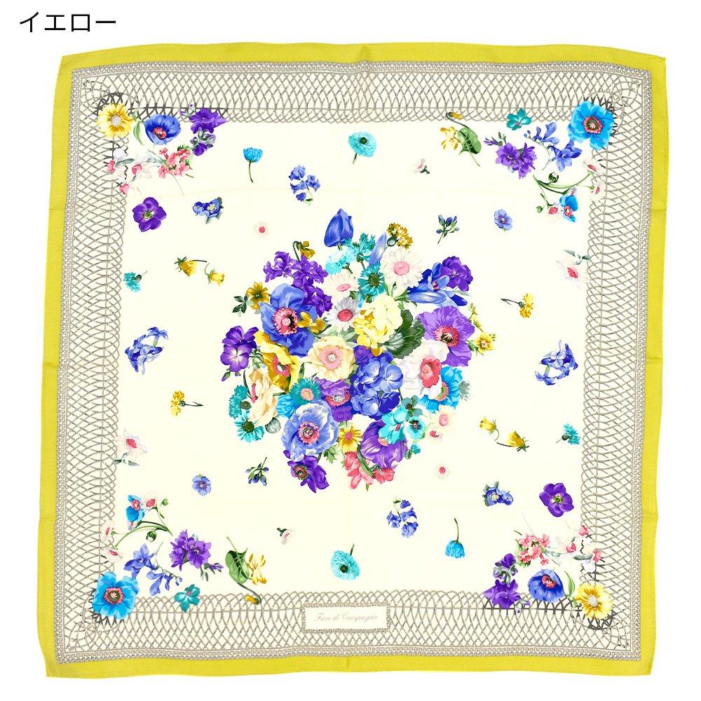 田園の花(CM6-818) 伝統横濱スカーフ 大判 シルクツイル スカーフの画像2