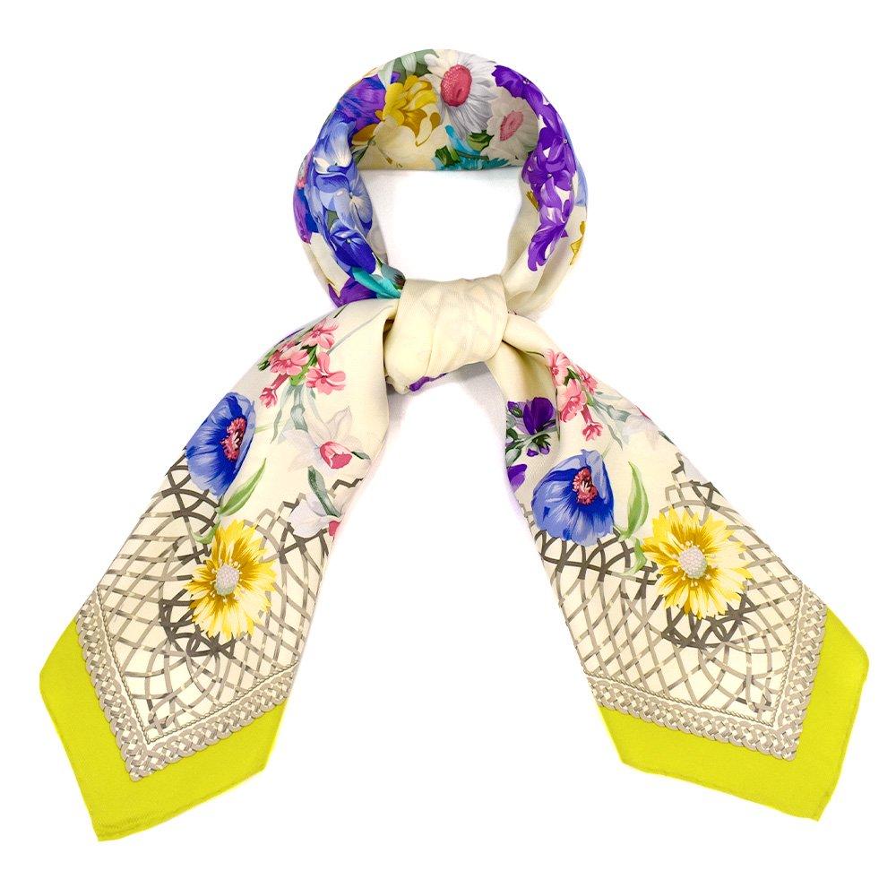 田園の花(CM6-818) 伝統横濱スカーフ 大判 シルクツイル スカーフの画像3