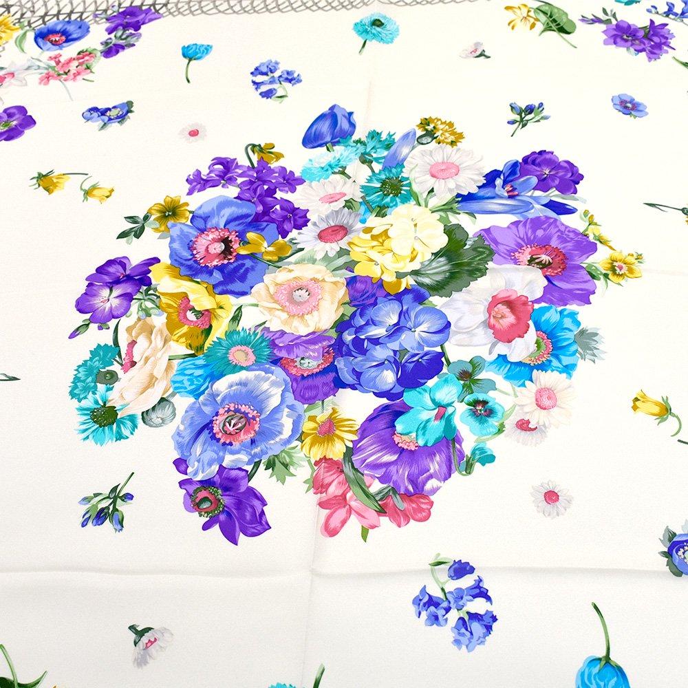 田園の花(CM6-818) 伝統横濱スカーフ 大判 シルクツイル スカーフの画像4